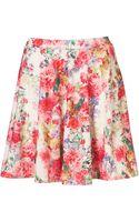 Topshop Floral Printed Skater Skirt - Lyst