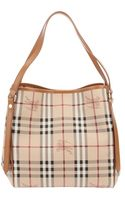 Burberry Checked Tote - Lyst