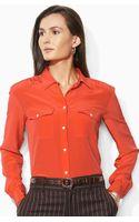 Lauren by Ralph Lauren Long Sleeve Silk Shirt - Lyst