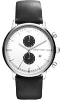 Emporio Armani Chronograph Black Leather Strap Watch  - Lyst