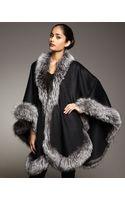 Sofia Cashmere Natural Silver Fox Fur Trimmed Cashmere Cape - Lyst