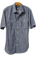 Banana Republic Chambray Short Sleeve Utility Shirt - Lyst