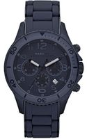 Marc By Marc Jacobs Chronograph Rock Blue Silicone Wrapped Blue Tone Stainless Steel Bracelet 46mm - Lyst