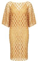 Nicole Farhi Perforated Sequin Dress - Lyst