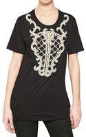 Balmain Embroidered Cotton Jersey T-shirt - Lyst