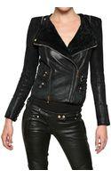 Balmain Shearling Biker Style Leather Jacket - Lyst