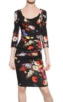 Dolce & Gabbana Printed Stretch Silk Charmeuse Dress - Lyst