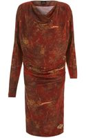 Vivienne Westwood Anglomania Red Floral Print Long Sleeve Jersey Dress - Lyst