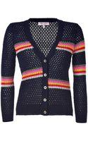 Juicy Couture Lagoon Stripe Mesh Cardigan - Lyst