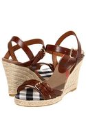 Burberry Check Detail Espadrille Wedges - Lyst