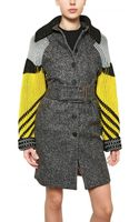 Kenzo Wool Felt Coat with Knitted Sleeves - Lyst