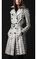 Burberry Prorsum Long Snakeskin Trench Coat - Lyst