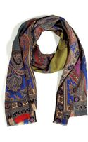 Etro  Cashmere and Silk Blend Scarf - Lyst