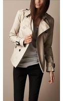 Burberry Brit Short Cotton Gabardine Pin Tuck Trench Coat - Lyst