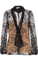 Emilio Pucci Lace Pussybow Blouse - Lyst