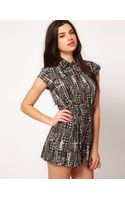 ASOS Collection  Playsuit in Abstract Dogtooth Print - Lyst