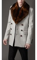 Burberry Fur Collar Pea Coat - Lyst
