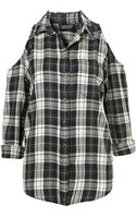 Topshop Cutout Shoulder Check Shirt - Lyst