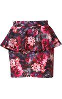Topshop Floral Peplum Mini Skirt - Lyst