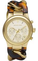 Michael Kors Chainlink Watch Tortoise - Lyst