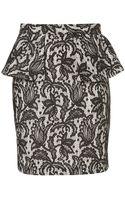Topshop Black Lace Peplum Skirt - Lyst