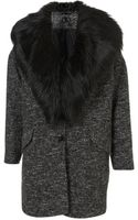 Topshop Textured Fur Collar Boyfriend Coat - Lyst