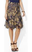 Lauren by Ralph Lauren Cheryl Abstract Silk Skirt - Lyst