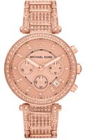 Michael Kors Womens Chronograph Parker Rose Gold Tone Stainless Steel Bracelet 39mm - Lyst