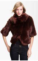 Ted Baker Crop Faux Fur Jacket - Lyst