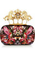 Alexander McQueen Unicorn Skull Embroidered Satin Box Clutch - Lyst
