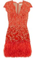 Matthew Williamson Feathertrimmed Embellished Lace Dress - Lyst