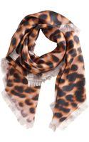 David Szeto Ikat Leopard Print Square Scarf - Lyst