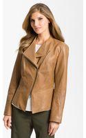 Lafayette 148 New York Asymmetrical Zip Leather Jacket - Lyst