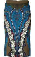 Etro Olivebluemulti Skirt - Lyst