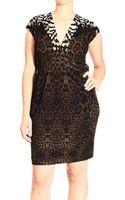 Roberto Cavalli Short Sleeve Jersey V Neck Jaguar Print Dress - Lyst