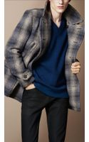 Burberry Brit Wool Blend Check Pea Coat - Lyst