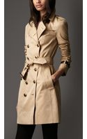 Burberry Long Cotton Gabardine Leather Detail Trench Coat - Lyst