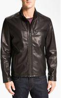 Cole Haan Lambskin Leather Motorcycle Jacket - Lyst
