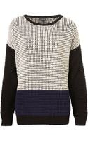 Topshop Knitted Colour Block Grunge Jumper - Lyst