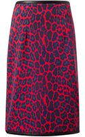 Christopher Kane Red Leopard Print and Leather Skirt - Lyst