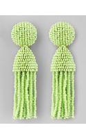 Oscar de la Renta Short Beaded Tassel Earrings  - Lyst