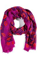 Marc By Marc Jacobs Flamingo Red Multi Stripey Lips Wool Scarf - Lyst