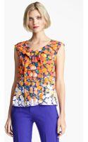 Marc Jacobs Dégradé Floral Silk Crepe Top - Lyst