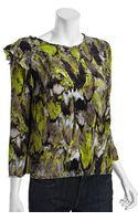 BCBGMAXAZRIA Pear Abstract Print Silk Elma Ruffle Shoulder Blouse - Lyst