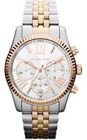 Michael Kors Midsize Silver Color Stainless Steel Lexington Chronograph Watch - Lyst