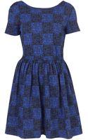Topshop Grid Print Flippy Dress - Lyst