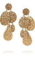 Oscar de la Renta Hammered 24karat Gold Plated Clip Earrings - Lyst