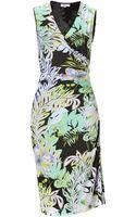 Etro Green multi Jersey Ruched Seam Dress - Lyst