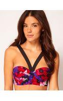 Asos Floral Padded Longline Fuller Bust Bikini Top  - Lyst