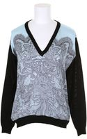 Emilio Pucci Black Wool Sweater with Laceprint Baby Blue Silk Front - Lyst